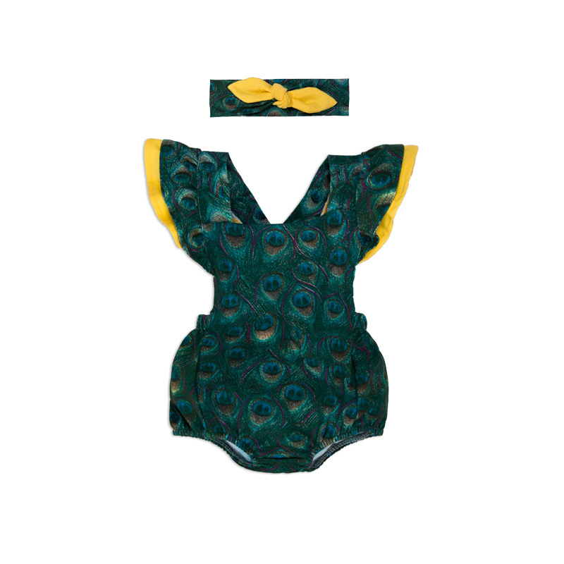 New Design Girl Baby's Set Newborn Cotton Peacock Pattern Romper Summer Sleeveless Bodysuits With Headband Baby Girl Clothes