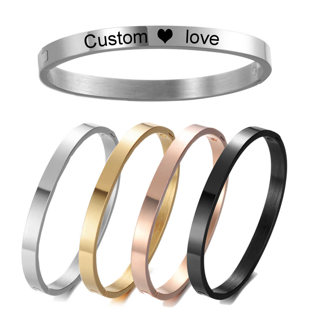 5MM Bangle Personalized Custom Bracelets Motivational Quote Silver Gold Color Engraved Name Text Gift SL-027