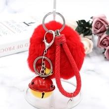 34 Colors Trinket Leather Rope Pompons Keychains Fluffy Rex Rabbit Fur Keychain Bell Key Chains Trinkets Keychain Llaveros цены онлайн