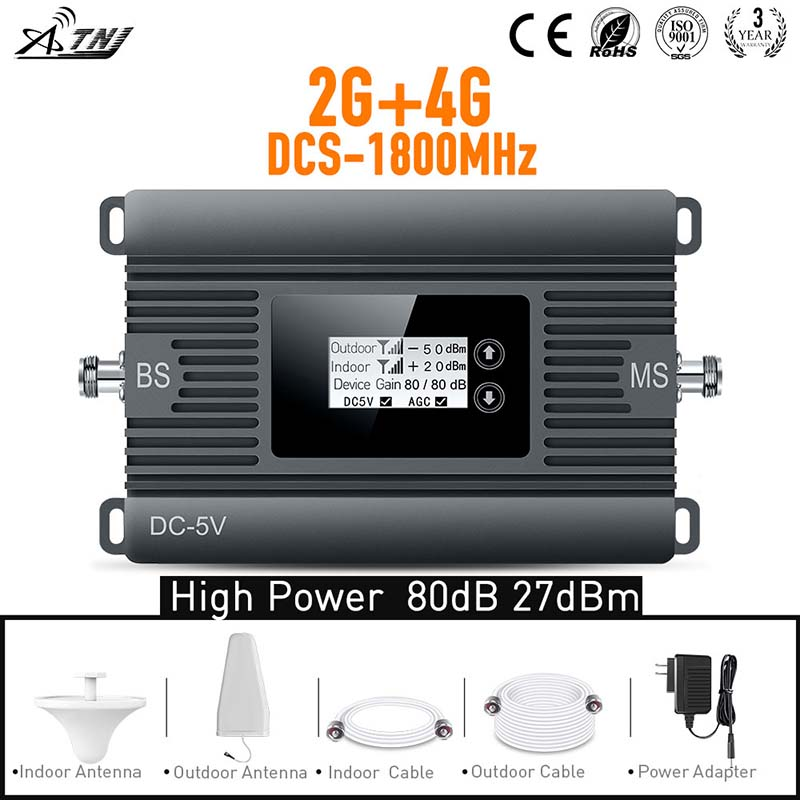New Sale! High Gain 80dB 2G 4G 1800mhz  Phone Signal Booster Amplifier With Indoor Antenna And Outdoor Antenna And Cable