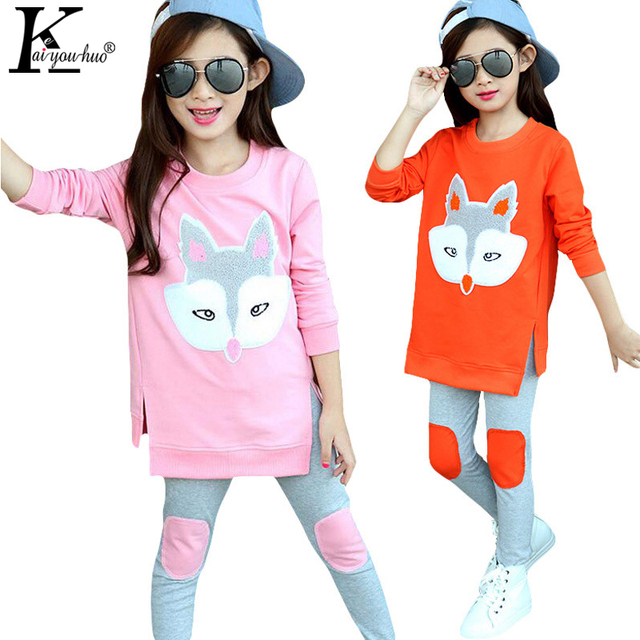 KEAIYOUHUO 2017 Tracksuit Children Clothing Outfit Baby Girl Clothes Girls Sport Suit Cartoon Fox Costume For Kids Shirt+Pants
