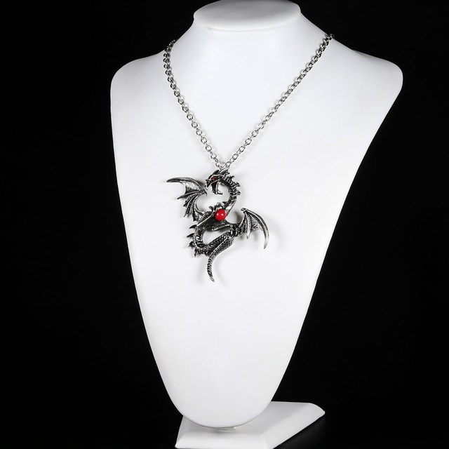2018 Vintage Dragon Punk Pendants & Necklaces dragon bead Chain Gift Women  Crystal Jewelry 2