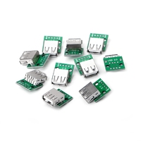 10Pcs/Set USB 2.0 Female Socket for DIP 4P Adapter Connector 2.54mm Welded PCB Board Connectors