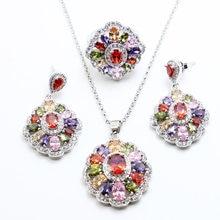 002797981d06 Multicolor piedras blanco 925 joyería de plata conjuntos para las mujeres  pendientes anillo colgante Collar libre