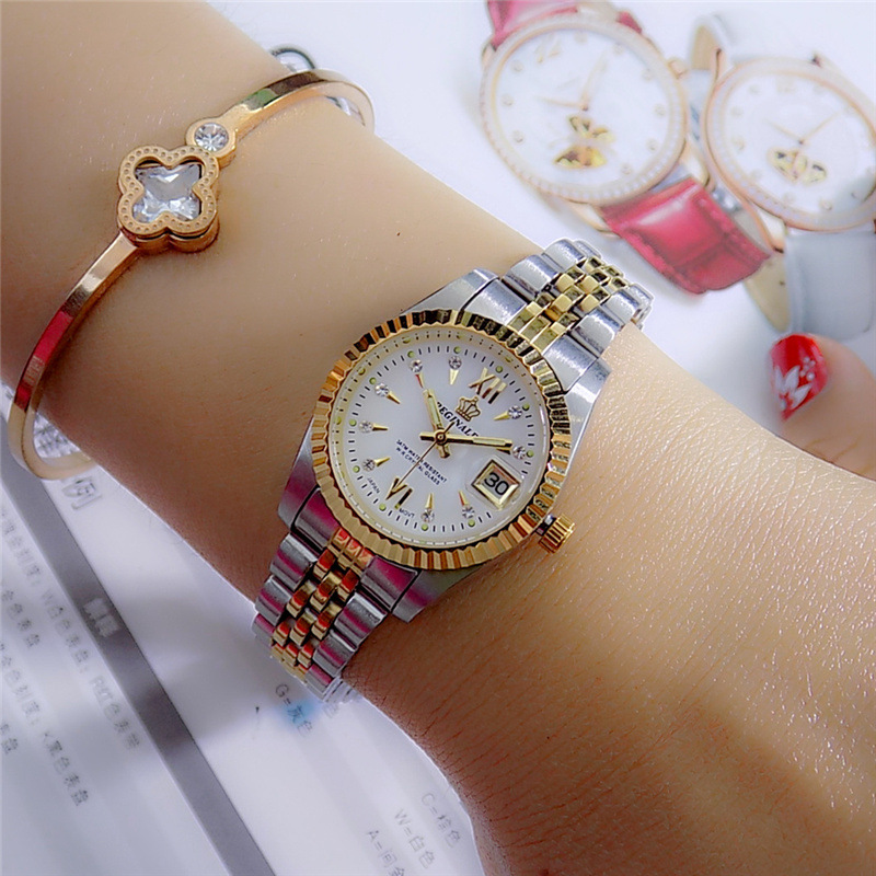 Reginald Brand Men Dress Style Business Watch Steel Wristband Golden Men Quartz Watch Valentine's Day Present For Man Woman Love
