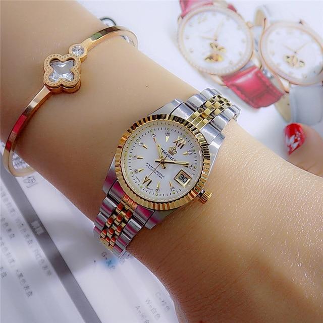 Reginald Brand Men Dress Style Business Watch Steel Wristband Golden Men Quartz