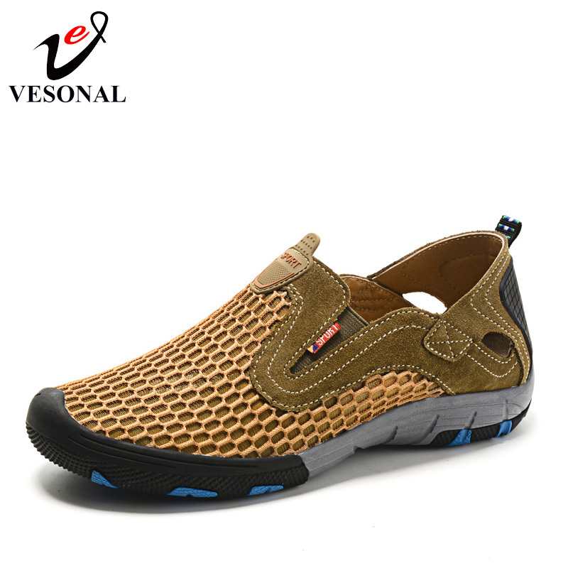 VESONAL Summer Style Male Mesh Shoes For Men Adult Casual Breathable Light Quality Driving Walking Sneakers Slip On Footwear