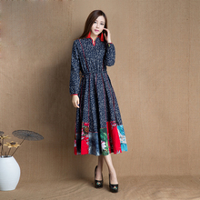 Retro Long elegant Dress China national style traditional Chinese vintage lady Ethnic improved Cotton Linen clothing