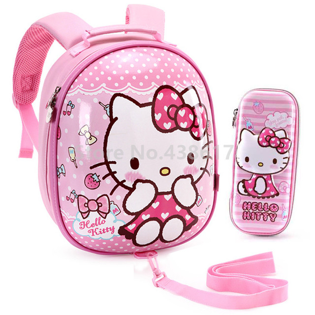 a0667dee37c7 Kids Hello Kitty Anti-lost Eggshell Hard Shell Backpack Bag With Pencil Case  Set for Girls Kindergarten Preschool School Bags