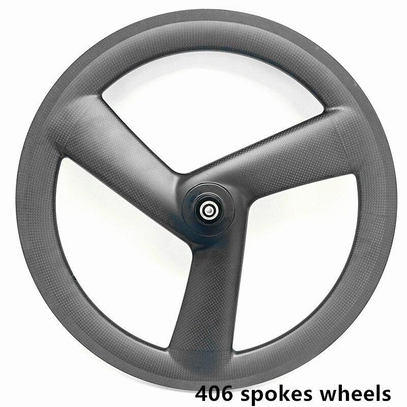 Best carbon 3 spokes wheels bicycle carbon 3 spokes wheelset 3K UD 20in 406 3 spokes wheels 100x9mm 130x9mm V brake 20in wheels 6