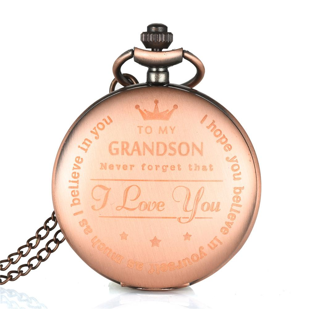 Fashion New To My Son Grandson English Letter Carved Pendant Analog Quartz Pocket Watch Gift