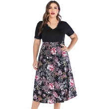 New Fashion women V-Neck short-sleeve floral print stitching black colour casual plus size dress 5XL black random floral print stripe stitching design dress