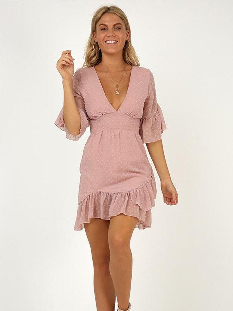 JYSS Summer Seaside White Pink Women Dresses Chiffon V-neck Ruffles Girl Dress Frocks For Women Sexy Bodycon Mini Dress 81875