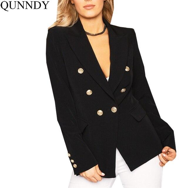 Qunndy Autunno OL Style Doppio Petto Bianco giacche Donna Cappotto Elegante  Sottile Abito Nero Freddo Inverno 76785535311