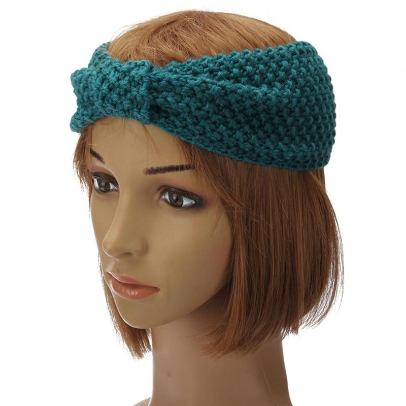 HAINES Twist Turban Headband for Women Crochet Bow Knitted Hairbands Head Band Yoga Headwear Headwrap Girls Hair Accessories
