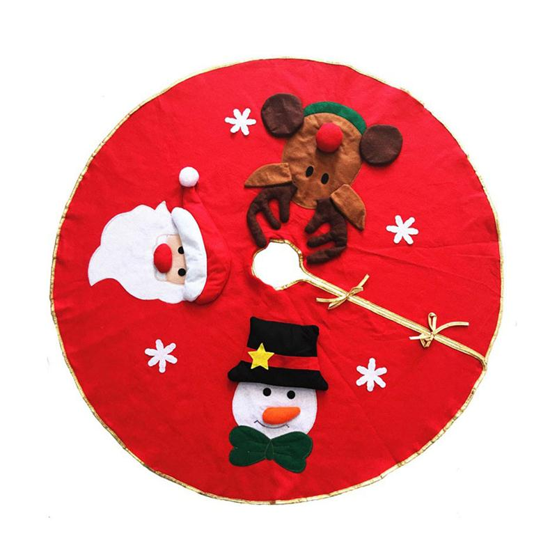 106cm Red Christmas House Round Tree Skirt With Snowman Santa Claus Elk Pattern Christmas Tree ...