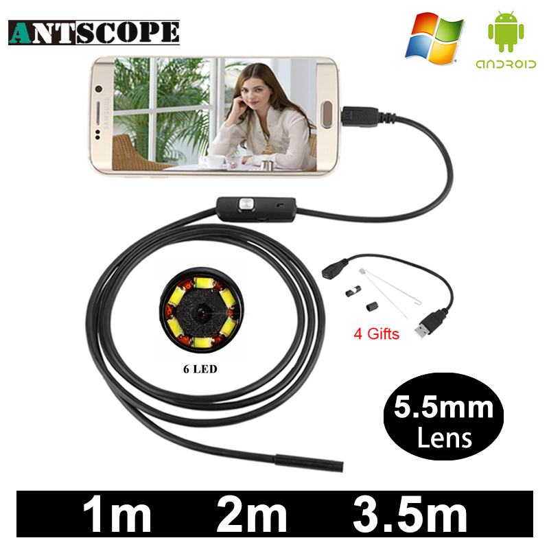 Antscope USB Android Endoscope Camera 1/2/3.5m Snake Tube Inspection PC Android Endoscopic Borescope USB Endoskop Camera antscope wholesale 7mm lens mini usb android endoscope camera waterproof snake tube 2m inspection usb borescope endoskop camera