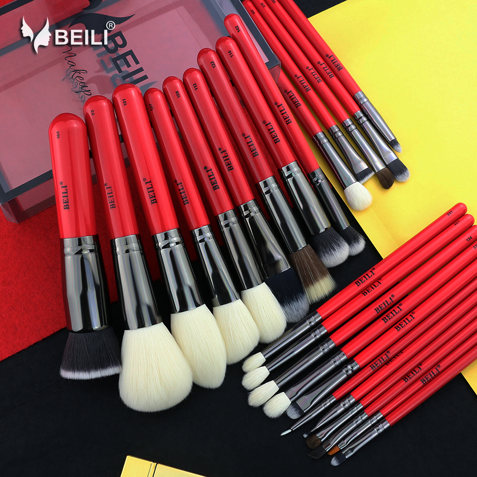 BEILI 25 pieces Red Handle Goat Hair Synthetic Powder Foundation Blusher Eye Shadow Eyebrow Eyeliner Contour MakeupBrush Set manufacturers price straight for 1064nm hair eyebrow qubanqudou nenfu opt laser probe 2 pieces