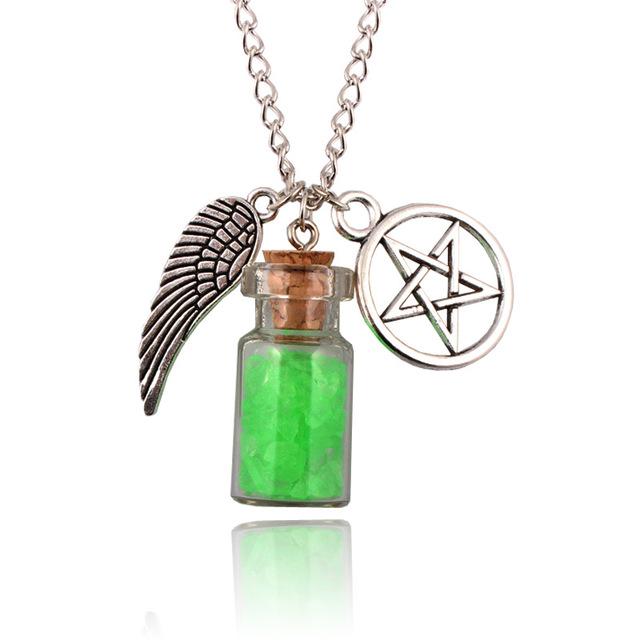 Supernatural Pentacle Angel Wings Pendant Three Color Necklace Handmade