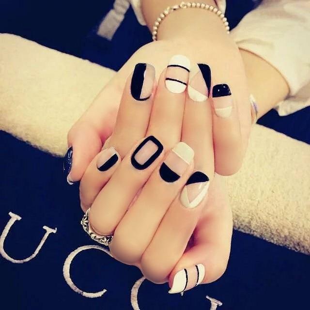 De color blanco y negro kit uñas postizas 24 unids/set color puro ...