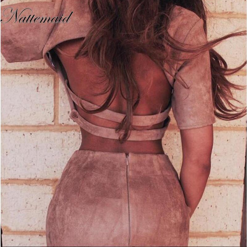 NATTEMAID Women Winter Suede Dress Set Skirt Short Sleeve Backless Crop Top Mini pencil skirts Bodycon 2 piece Dresses suit sets