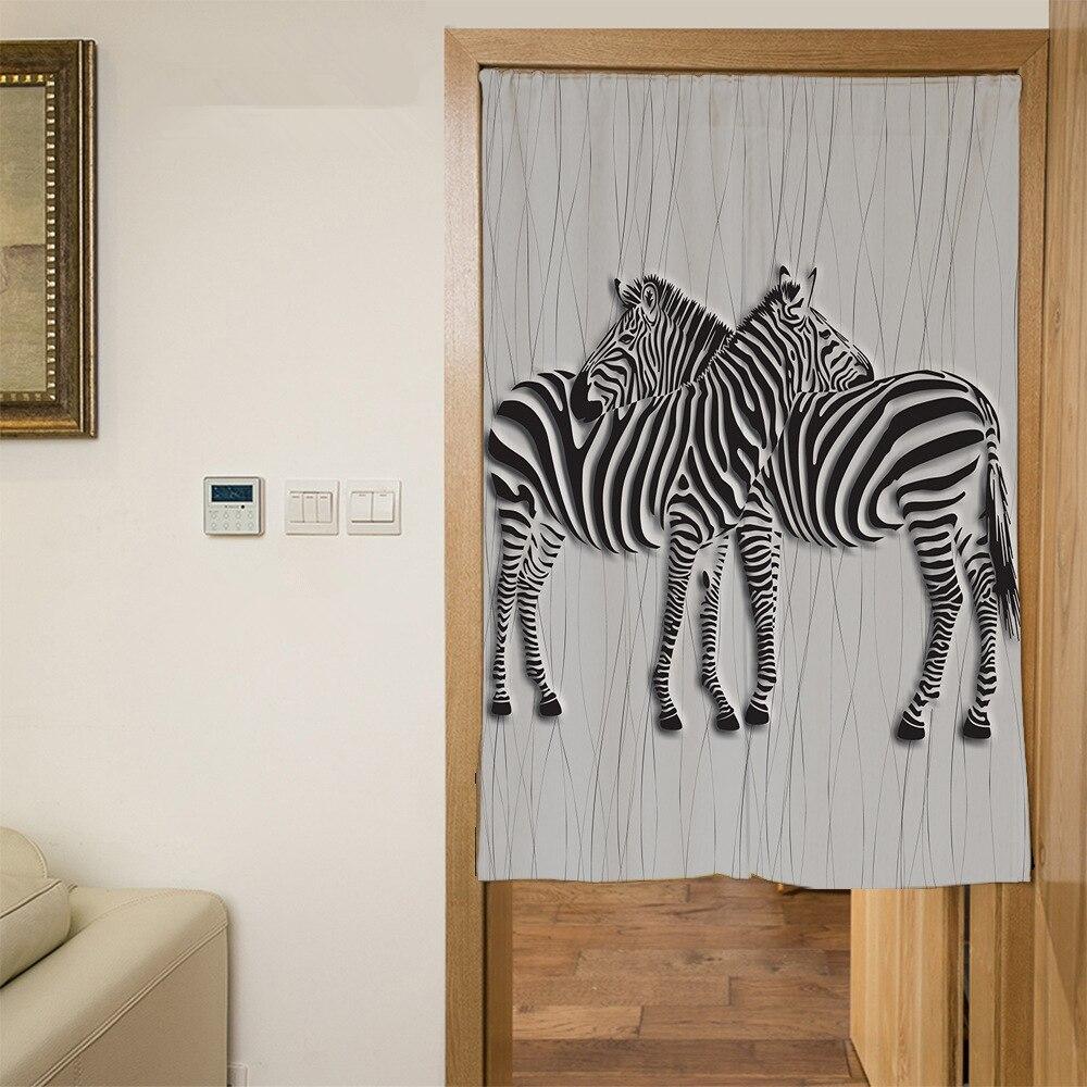 Senisaihon Polyester 3D Door Curtains Cartoon White Zebra Pattern Kitchen Curtain Traditional