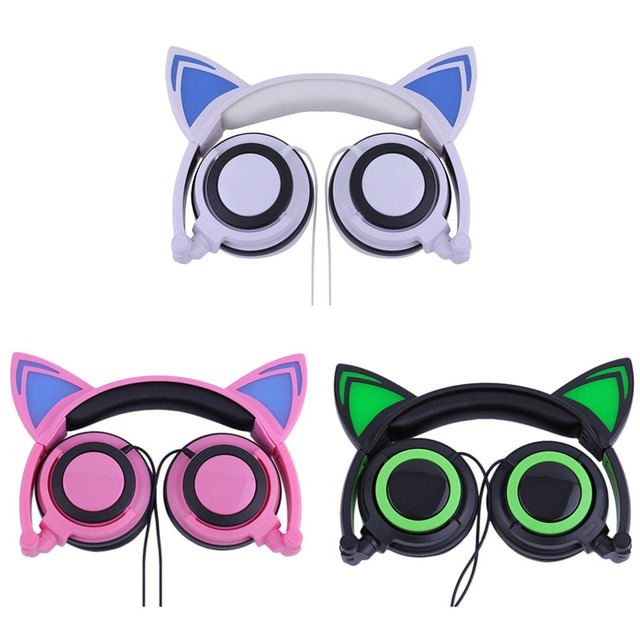 ONLENY Cat's Ears Headphones Folding Luminescence Wired Earphone With LED Light