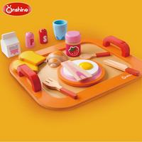 2018 New Brand Children Kitchen Pretend Toys/ Kids breakfast milk food wooden toys, free shipping