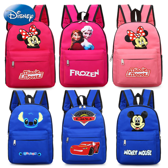 b516e63e2fd Disney Kids Backpack 6 Stylish Children Schoolbag Mickey Minnie Mouse  Shoulder Bag Girls Boys Cute Cartoon Stitch McQueen Frozen
