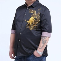 Plus Large Big Size 9xl 8XL 7XL 6XL 5XL 4XLEmbroidery Dragon Shirts Men Cotton Short Sleeve