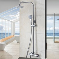 Modern Luxury Bathroom Faucet Chrome Polished Shower Set Hot&Cold Mixers Taps Wall Mounted Rainfall Shower Faucets