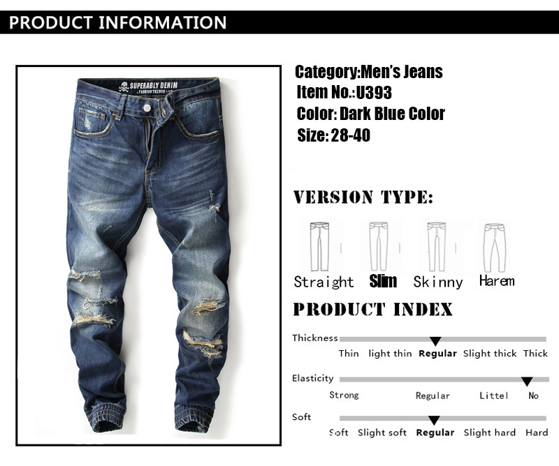 Dark Blue Color Fashion Streetwear Men Jeans Jogger Pants Destroyed Ankle Banded Cargo Pants Superably Brand Ripped Jeans Men