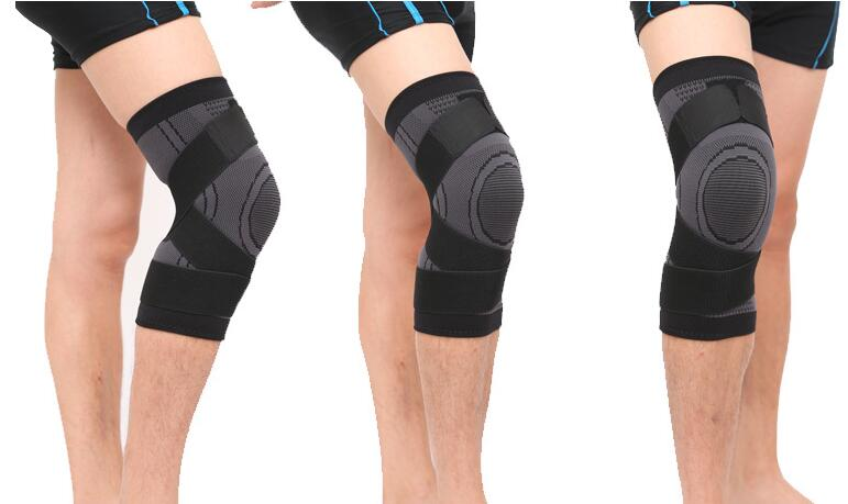 300 pcs Lot 3D Weaving Pressurization Knee Brace Basketball Hiking Cycling Knee Support Professional Protective Sport