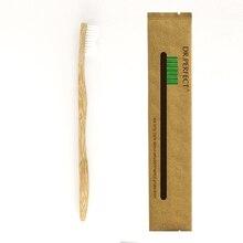 1 шт., стильная ручка, белая бамбуковая зубная щетка, дерево, новинка, Бамбуковая мягкая щетина, нейлоновая фибра, деревянная ручка