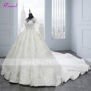 Image 3 - Fsuzwel Applicaties Bloemen Kapel Trein Baljurk Trouwjurken 2020 Nieuwe Collectie Hals Lace Up Bruid Gown Vestido De noiva