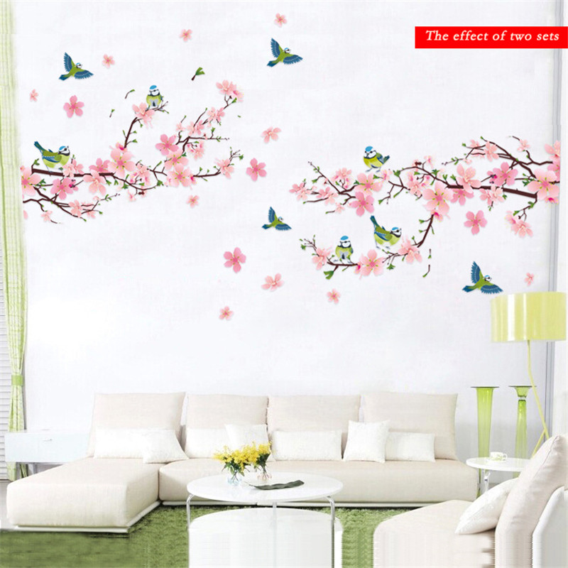 Sakura wall stickers decal bedroom living room diy flower for Stickers para dormitorios