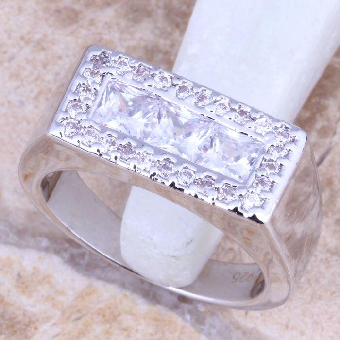 d20bcac9491e Celestial blanco CZ plata estampada 925 mujeres tamaño del anillo 6 7 8 9  R1158