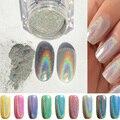 1 g/caja Rainbow Pigmento Brillo Espejo de Uñas Glitter Powder Polvo Láser Holográfico de Cromo Polaco DIY Decoraciones Del Arte Del Clavo Del Polvo