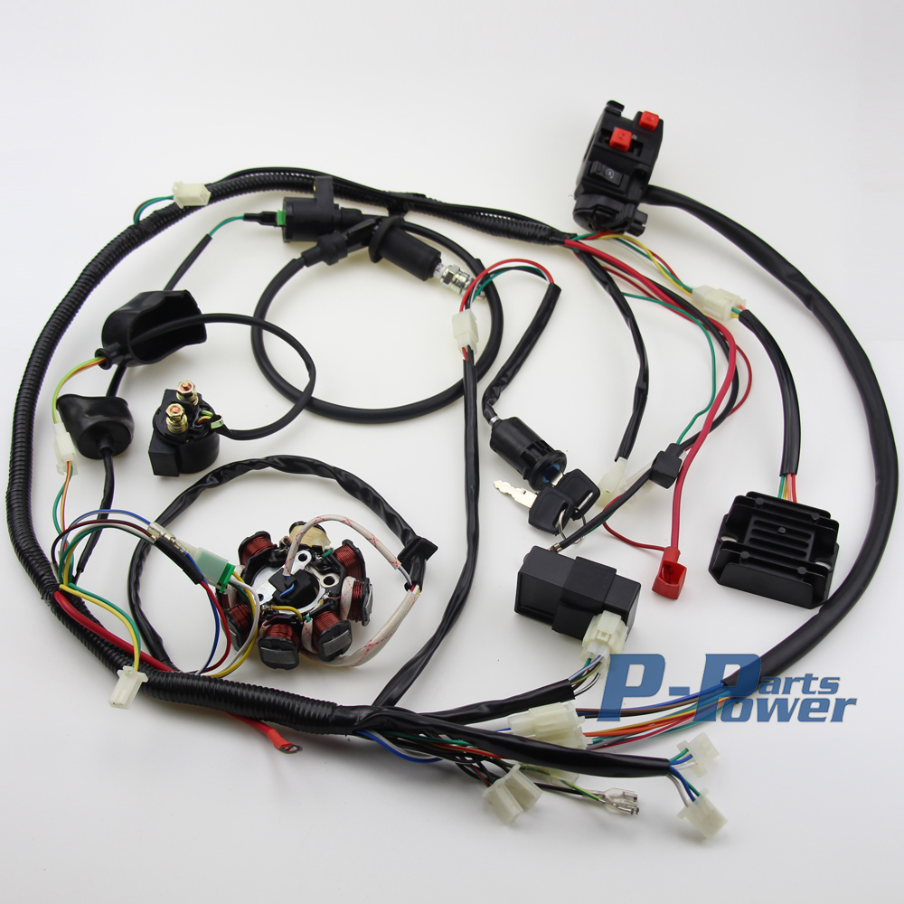 buggy wiring harness loom gy6 engine 150cc quad atv electric start go kart gy6 wiring harness [ 1000 x 1000 Pixel ]