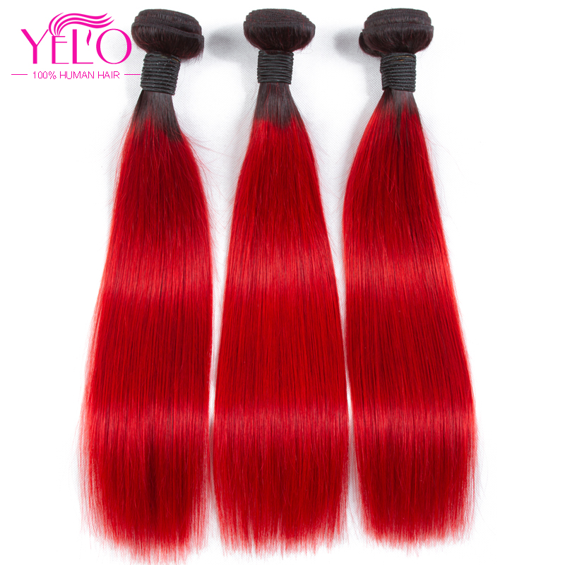 Yelo Hair 3Pcs Ombre Brazilian Straight Human Hair Bundles 100%Human Hair Weave 3 Bundles One Pack 1B/red Non Remy Free Shipping