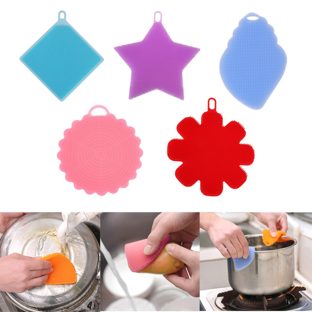 Magic Cleaning Brush Silicone Sponge Pot Pan Wash Cleaning Brushes Cooking Tool Cleaner Sponges Scouring Pads Kitchen Gadgets