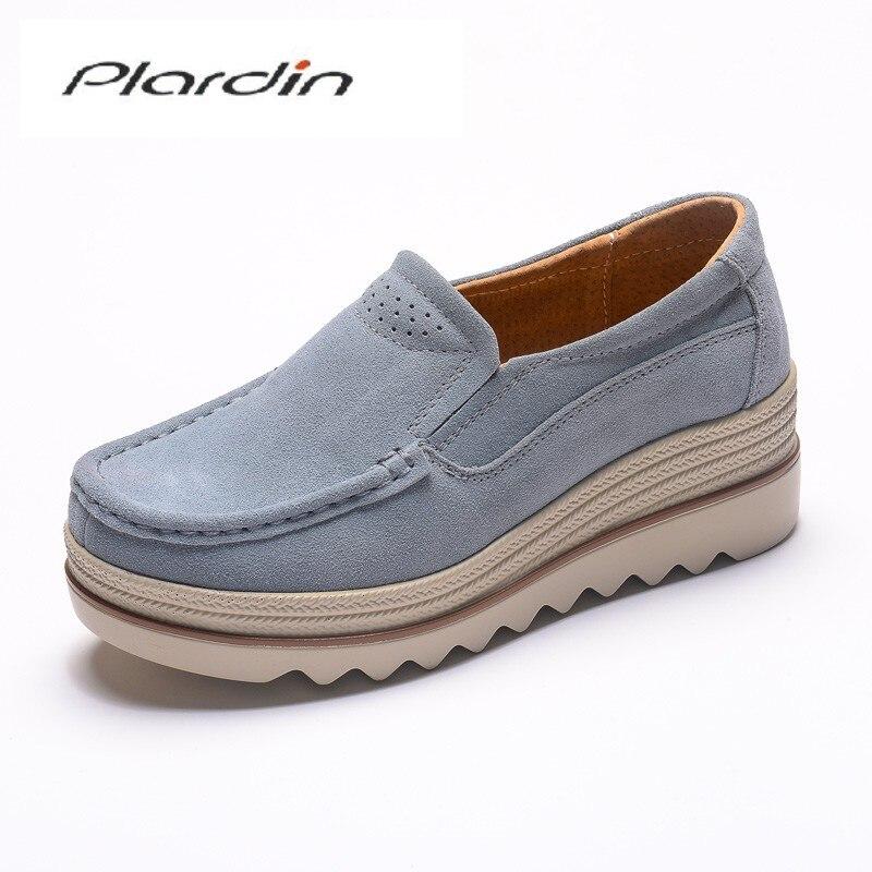 Plardin New Women Flats Platform Loafers Ladies   Suede     Leather   Moccasins Fringe Shoes Slip On Tassel Women's Casual Shoes Creeper