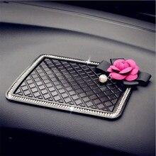 Crystal Universal Sticky Pad Anti-Slip Mat Car Dashboard Diamond Flower Non-Slip Car Mount Holder for Cell Phone GPS For Women