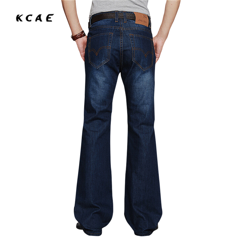 Mens Flared Jeans Boot Cut Leg Flared Slim Fit Mid Waist Male Designer Classic Denim Jeans Pants Bell Bottom Jeans
