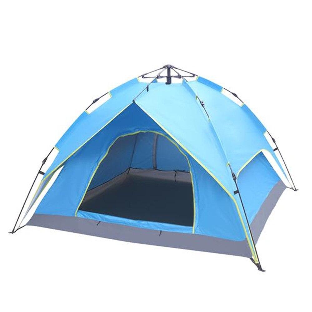2-3 personnes Double-pont remorquage-porte hydraulique automatique tente construire gratuitement tente extérieure bleu avec fenêtre écran grand espace