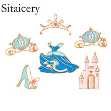 Sitaicery Enamel Pin Brooch Crown Palace Alice In Wonderland Jewelry Metal Pins Gift Wholesale Brooches For Women Clothes