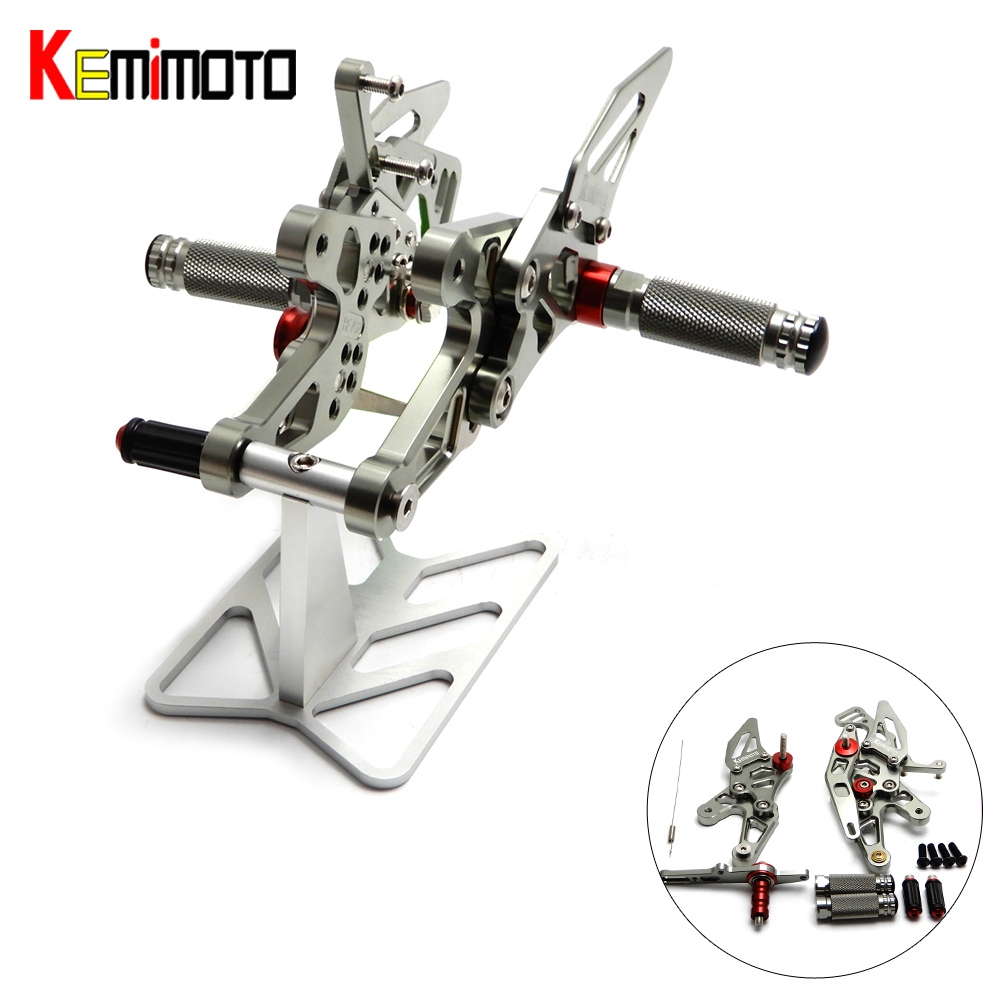 KEMiMOTO Motorcycle Footrest For BMW S1000RR 2015 2016 CNC Adjustable Rearset Foot Rest Foot Pegs