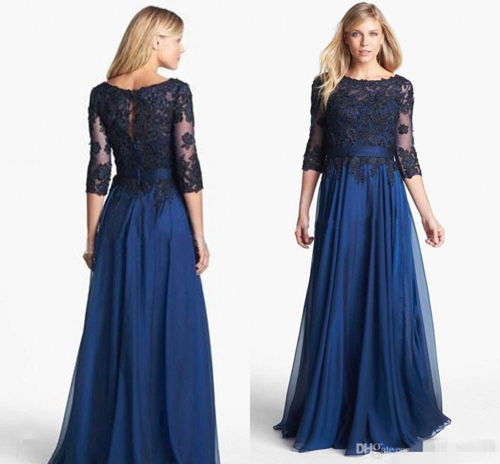 Elegant Long Sleeve Lace Floor Length Brides Mother Of The