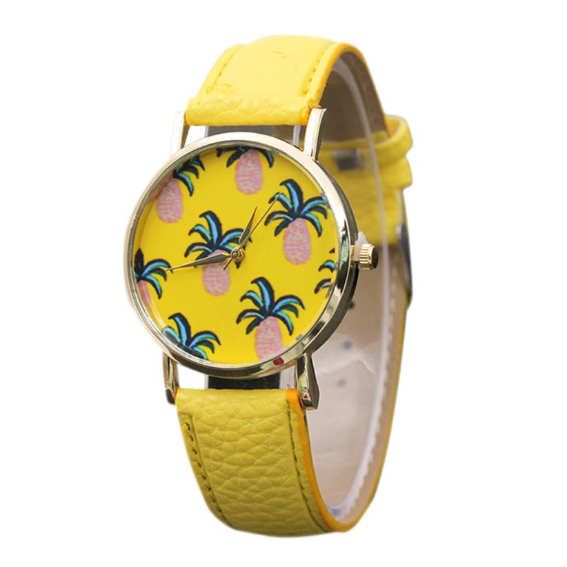 Tumblr luxury watch Fashion Pineapples Pattern Leather Band Analog Quartz Vogue ladies girls Watches designer yellow reloj 2017 analog watch