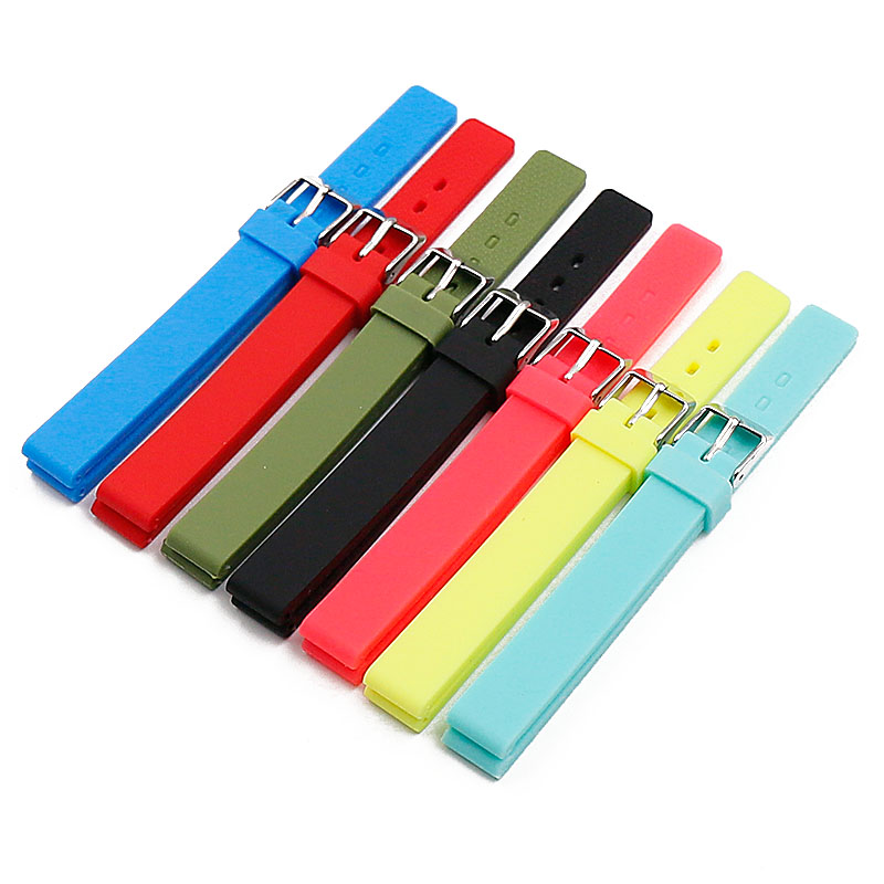 Silicone strap watch accessories pin <font><b>buckle</b></font> <font><b>12mm</b></font> waterproof sports rubber strap for women and children watch men watch band image